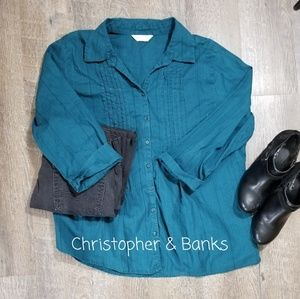 CHRISTOPHER & BANKS TEAL 3/4 SLEEVE BUTTON DOWN, L